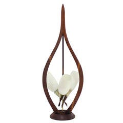 Danish Modern Walnut Brass and Glass Table Lamp