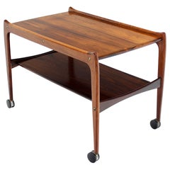 Danish Modern Rosewood Rolling Serving Cart on Wheels
