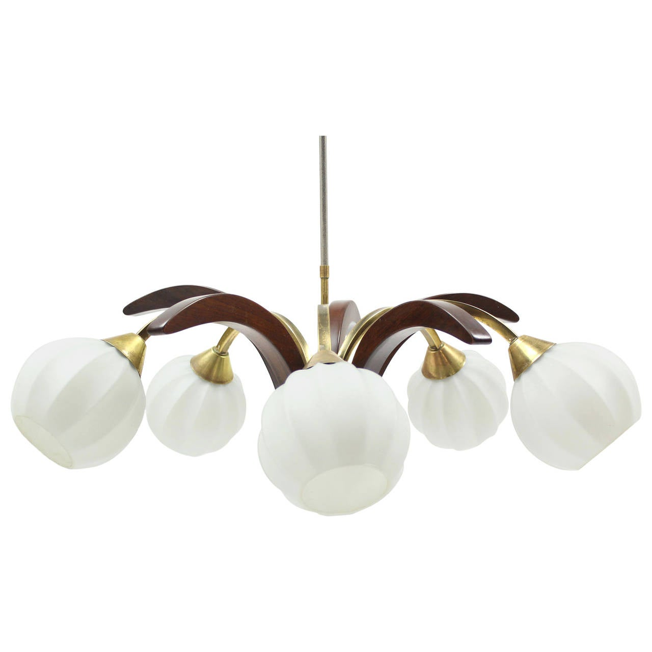 Five globe danish modern walnut and brass light fixture at for Danish modern light fixtures