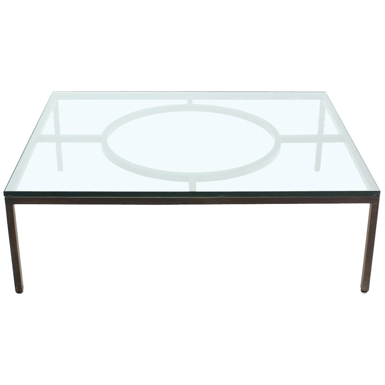 Extra Large Wide Rectangle Bronzed Frame Modern Coffee Table 3 4 Thick Glass For Sale At 1stdibs