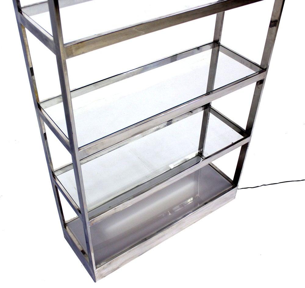 mid century modern baughman design chrome glass etagere shelfs at 1stdibs. Black Bedroom Furniture Sets. Home Design Ideas