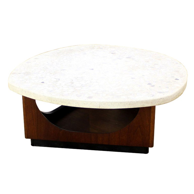 Harvey Probber Travertine Top Organic Shape Coffee Table At 1stdibs