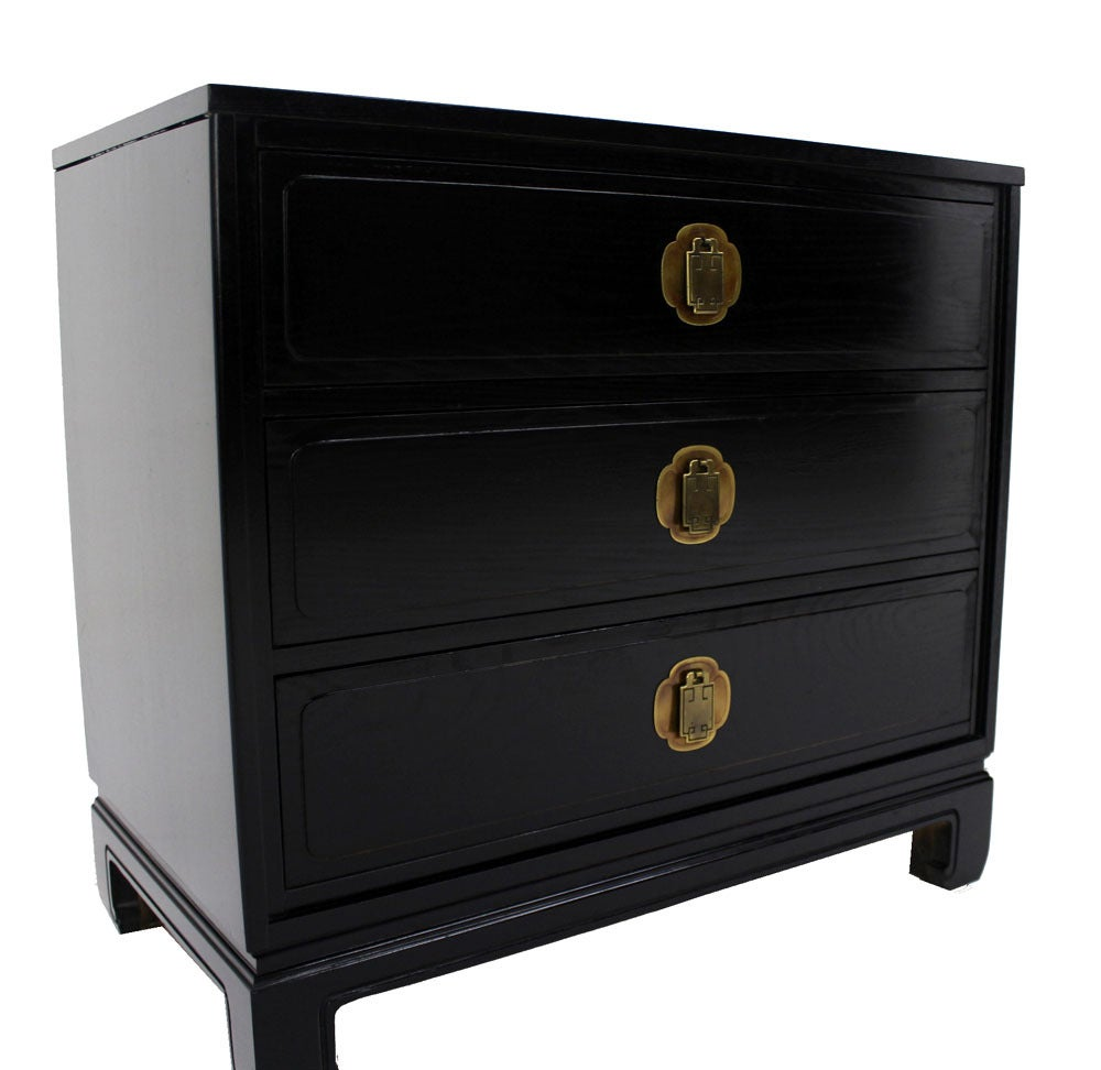 Pair Of Black Lacquer Bachelor Chests Dressers Oriental At