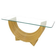 Midcentury Rattan U Shape Base Glass Top Console Sofa Table