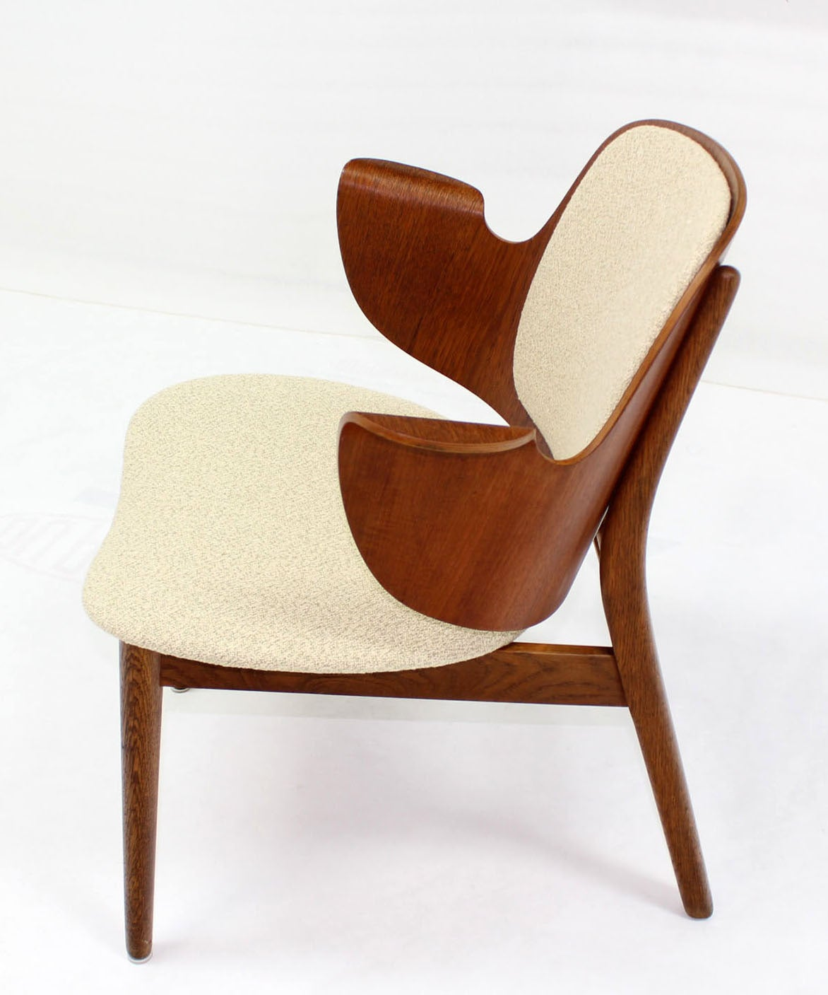 Lacquered Mid-Century Modern Molded Plywood Barrel Back Armchair New Upholstery. For Sale