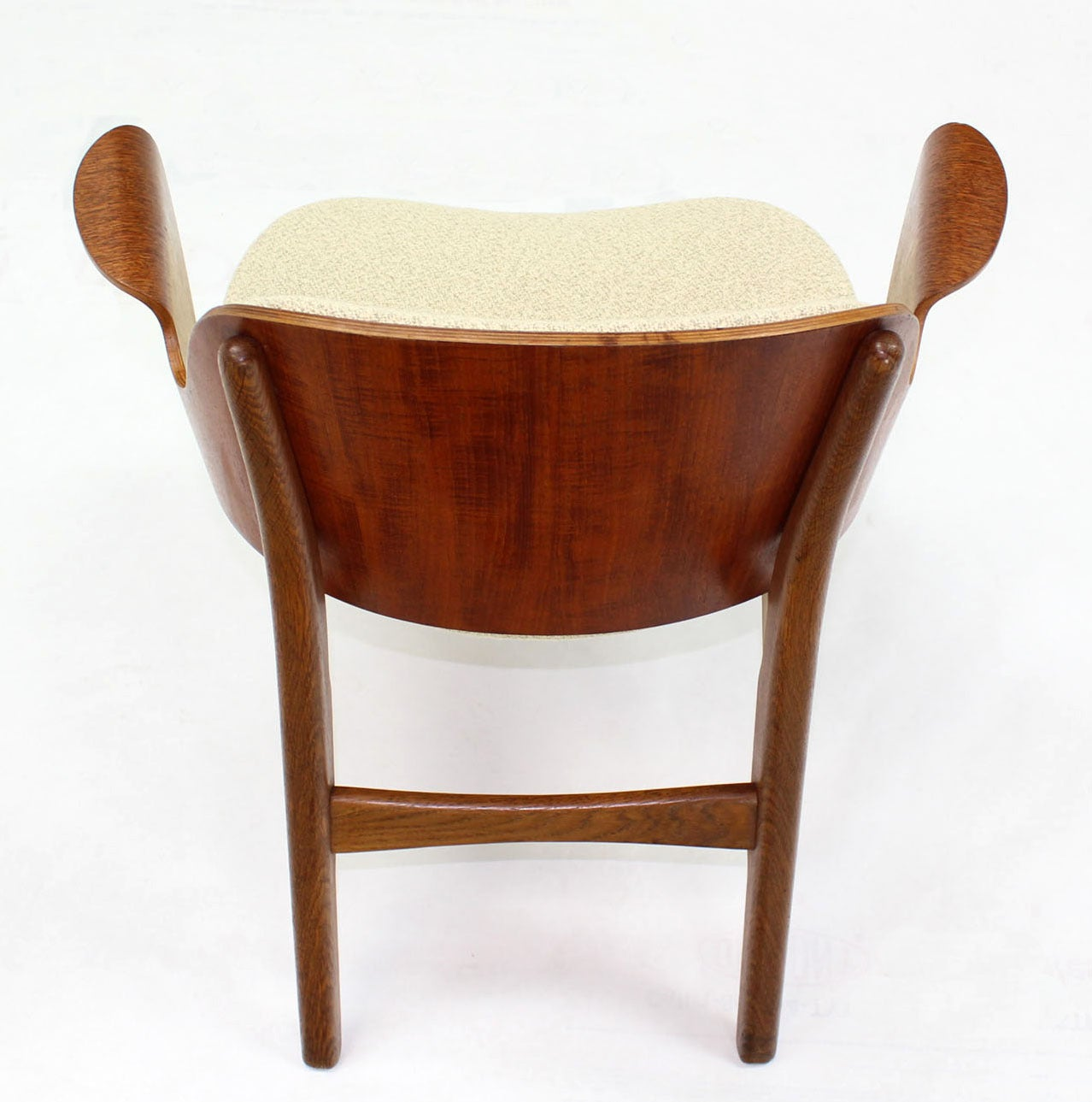 20th Century Mid-Century Modern Molded Plywood Barrel Back Armchair New Upholstery. For Sale