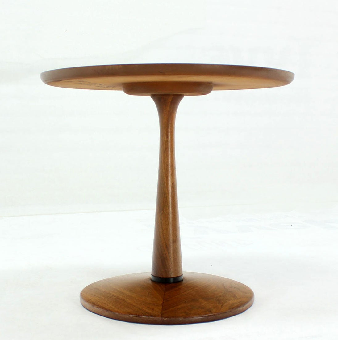 Turned Solid Walnut Base Walnut-Top Side Table at 1stdibs