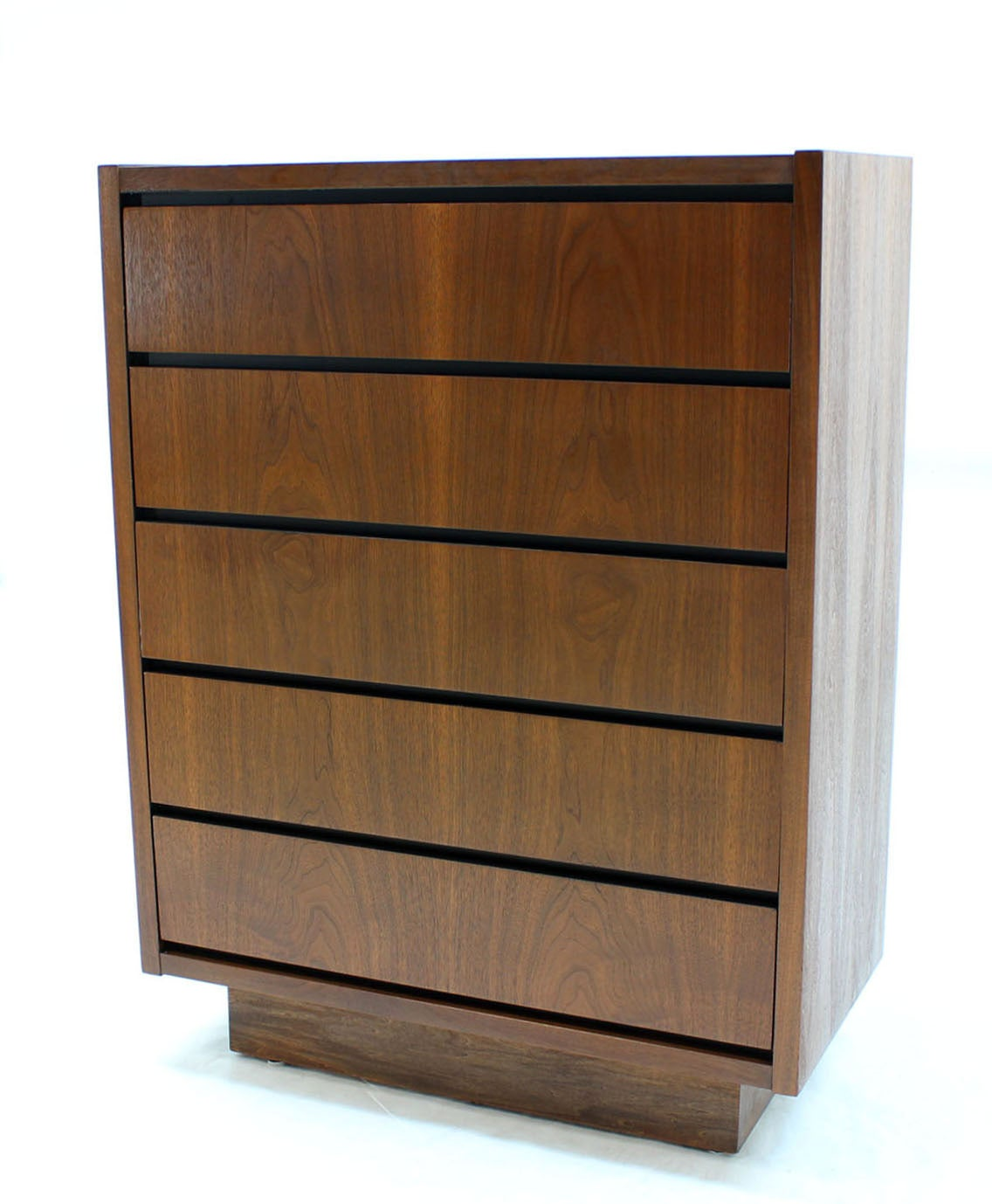 Mid century modern walnut high chest of drawers in mint condition. Beautiful book matched walnut veneer.