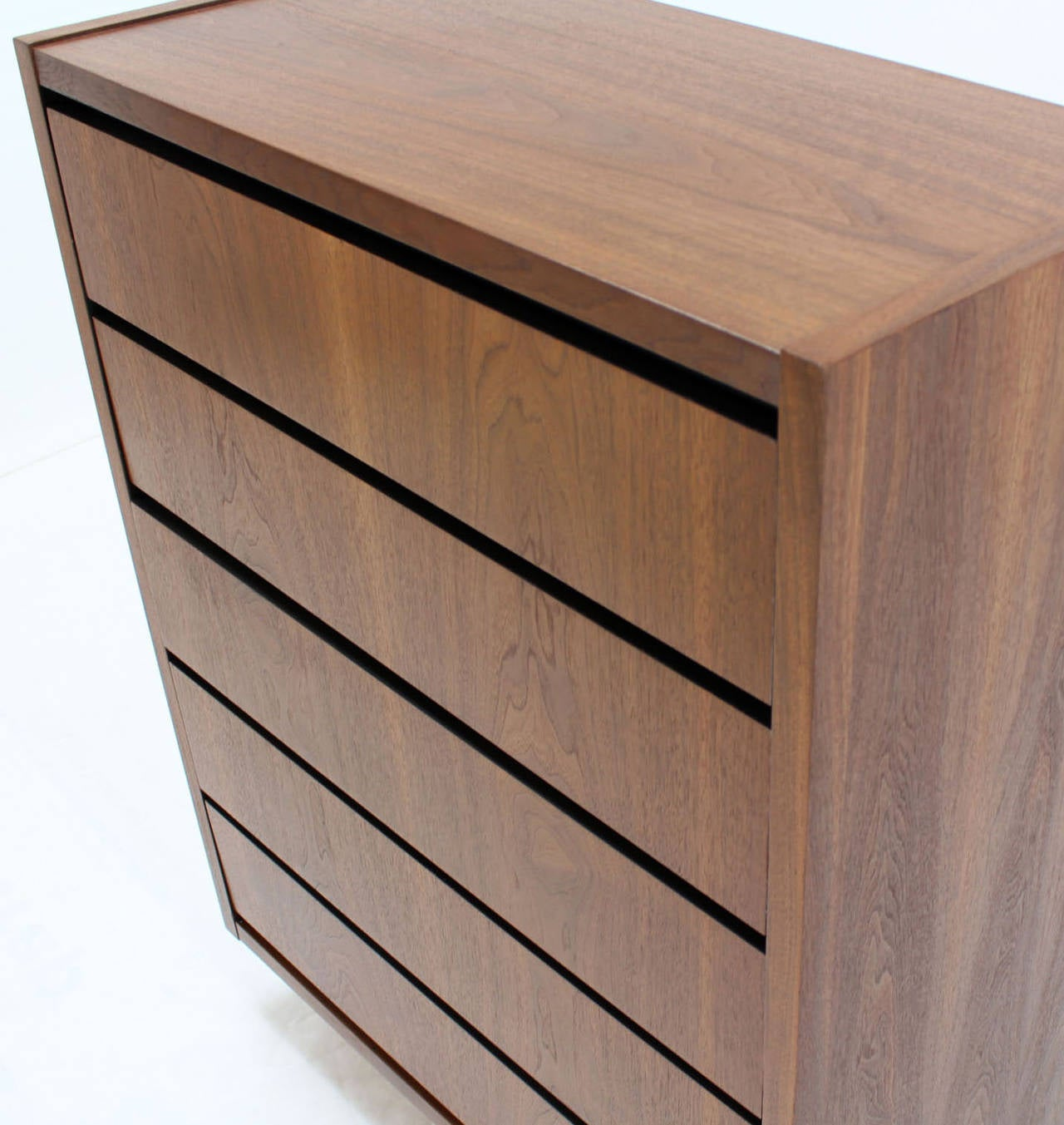 American Mid Century Modern Walnut High Chest of 5 Drawers Dresser For Sale