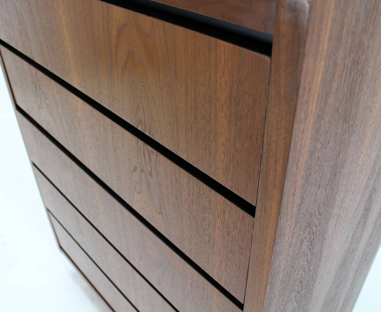 Lacquered Mid Century Modern Walnut High Chest of 5 Drawers Dresser For Sale