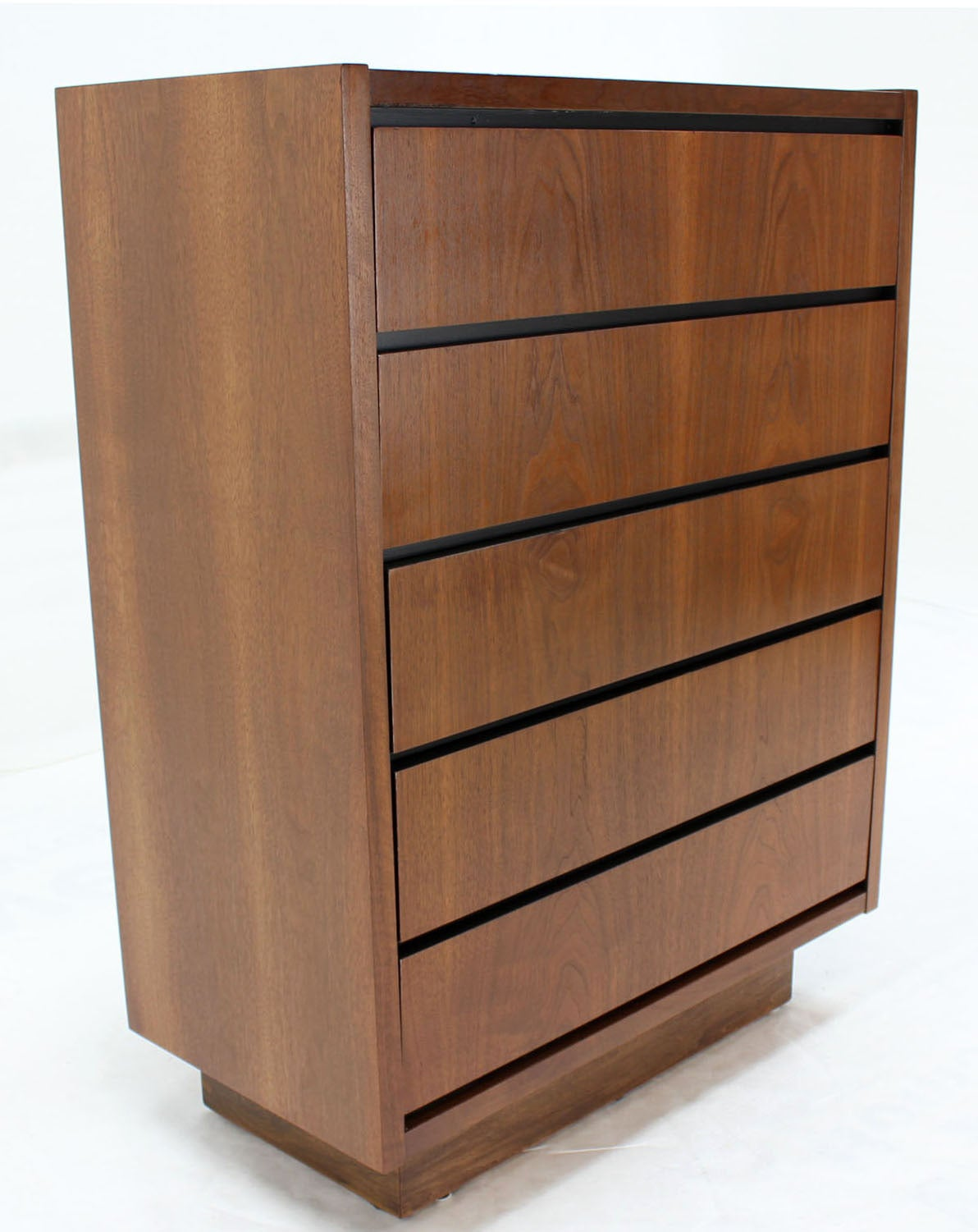 20th Century Mid Century Modern Walnut High Chest of 5 Drawers Dresser For Sale