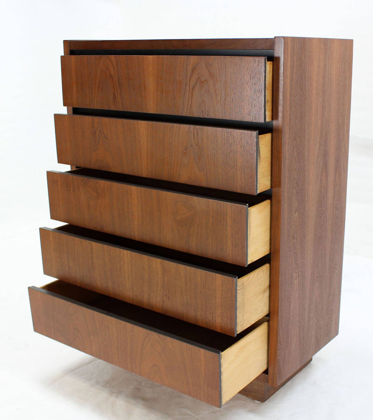 Mid-Century Modern Mid Century Modern Walnut High Chest of 5 Drawers Dresser For Sale