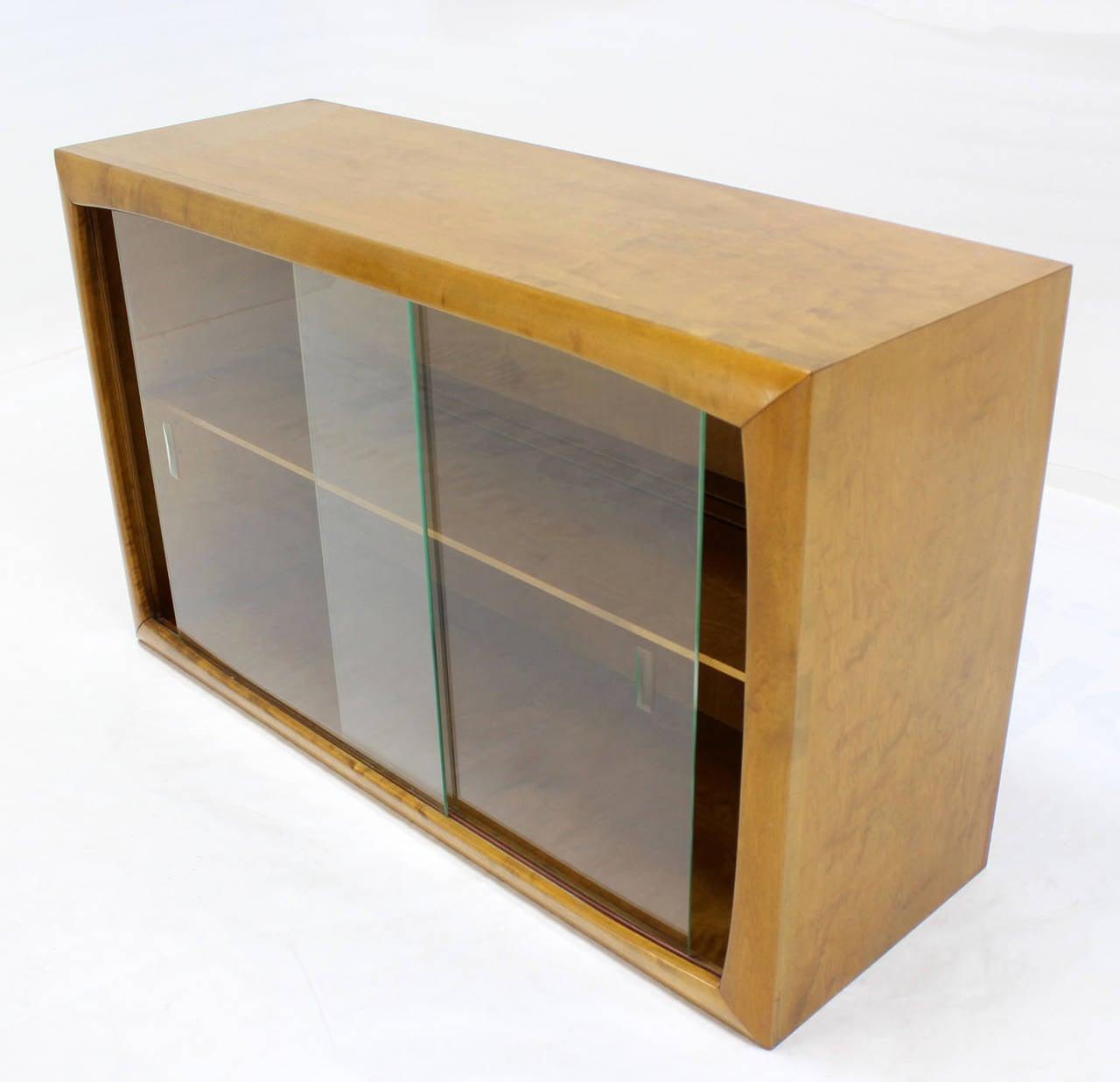 Mid-Century Modern Edmund Spence Blonde Wood Swedish Modern Hanging Bookcase w/ Glass Sliding & Edmund Spence Blonde Wood Swedish Modern Hanging Bookcase w/ Glass ...