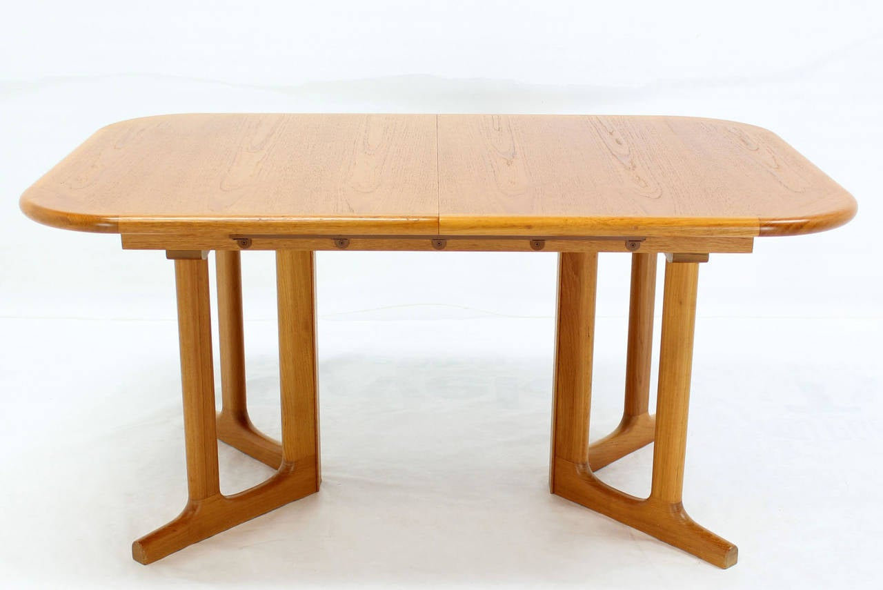 Danish Modern Rectangle Shape Teak Dining Table With Two