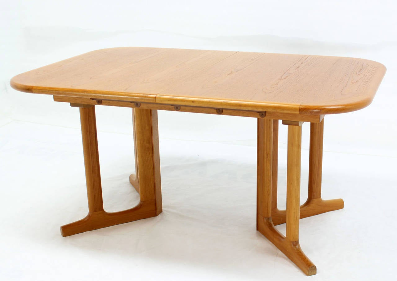 Danish modern rectangle shape teak dining table with two for Dining room table 2 leaves