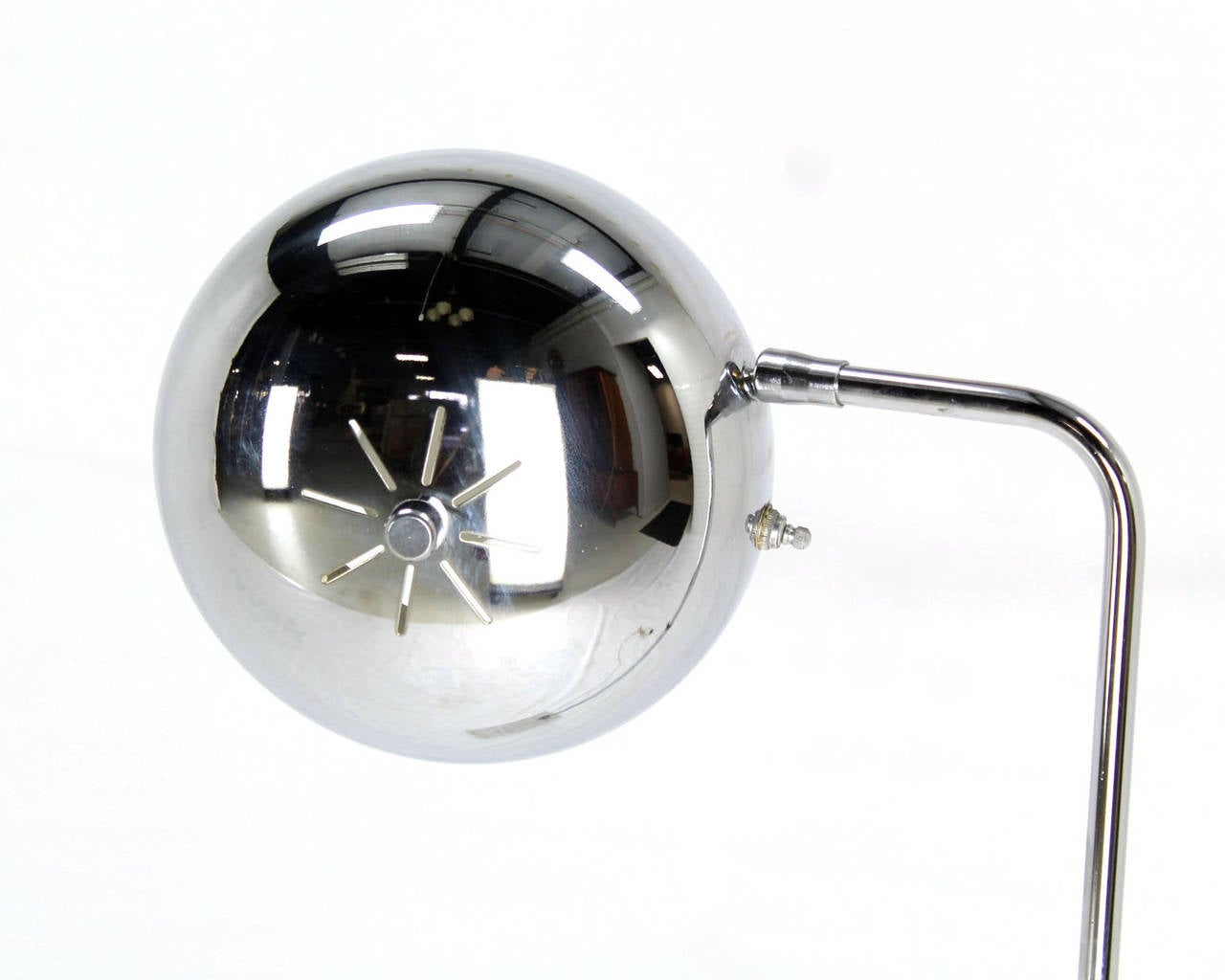 Polished Marble Base Chrome Floor Reading Lamp For Sale