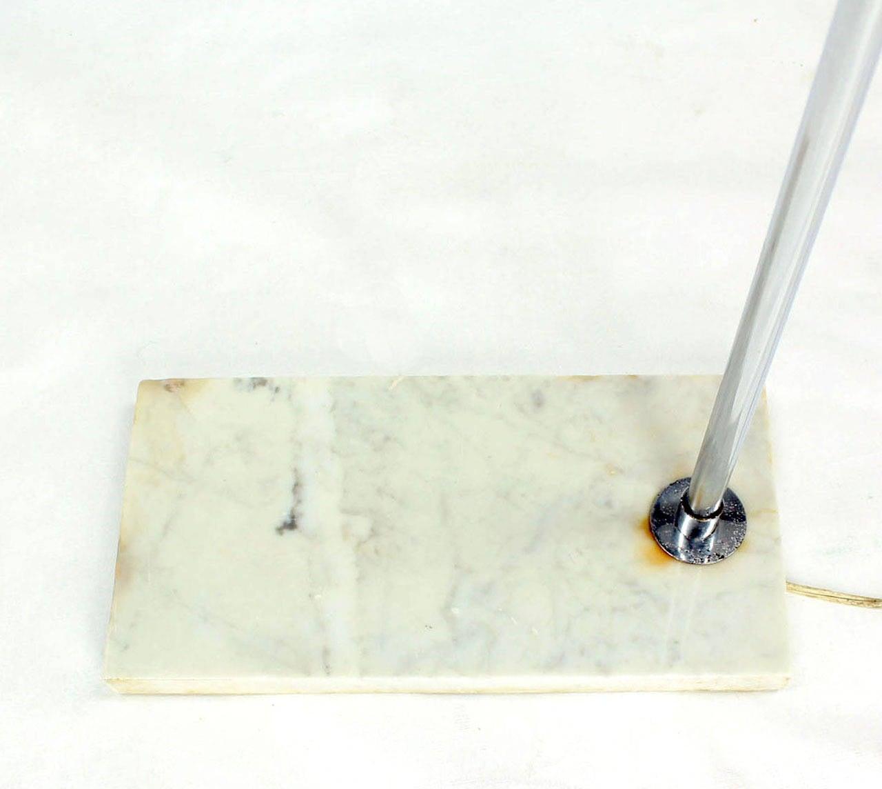 Mid-Century Modern Marble Base Chrome Floor Reading Lamp For Sale