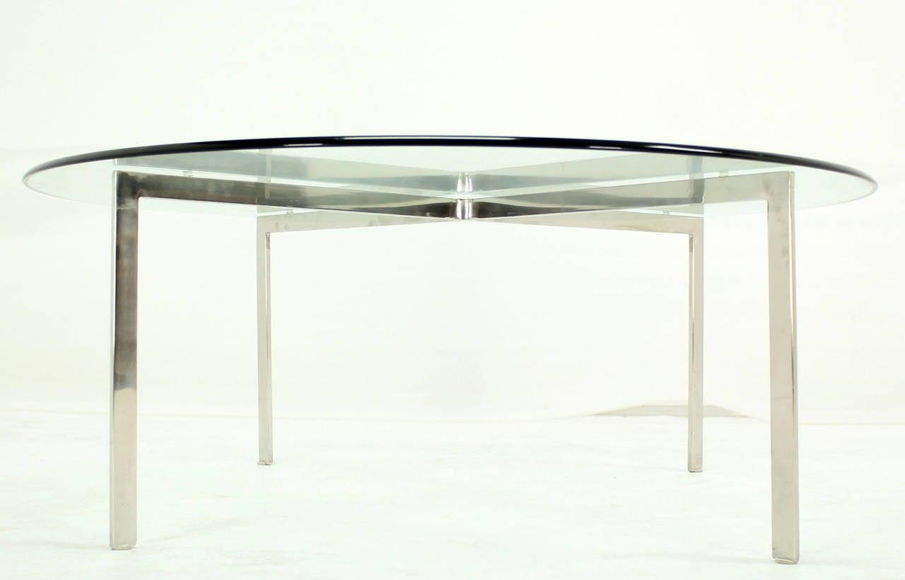 "Very nice thick 48"" diameter  glass top coffee table."
