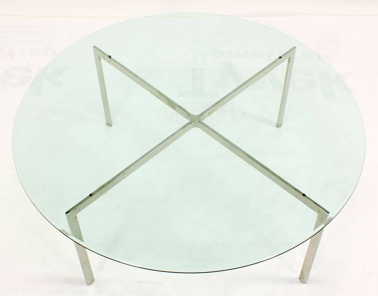 Mid Century Modern Chrome X Base Thick Round Glass Top Coffee Table 3