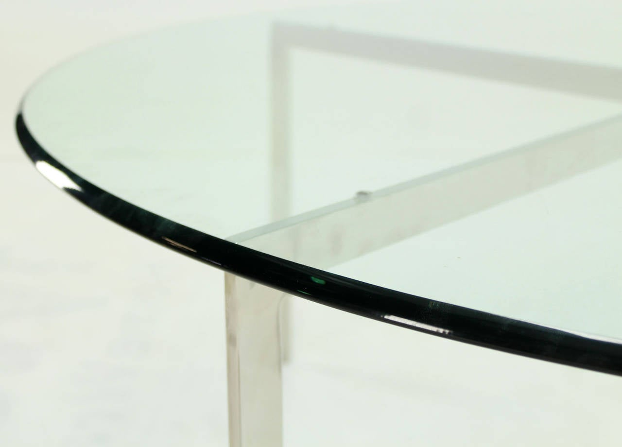 Polished Mid Century Modern Chrome X Base Thick Round Glass Top Coffee Table For Sale