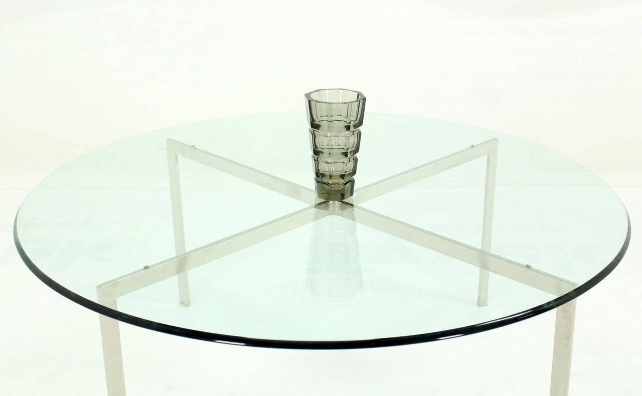 Mid Century Modern Chrome X Base Thick Round Glass Top Coffee Table For Sale 1
