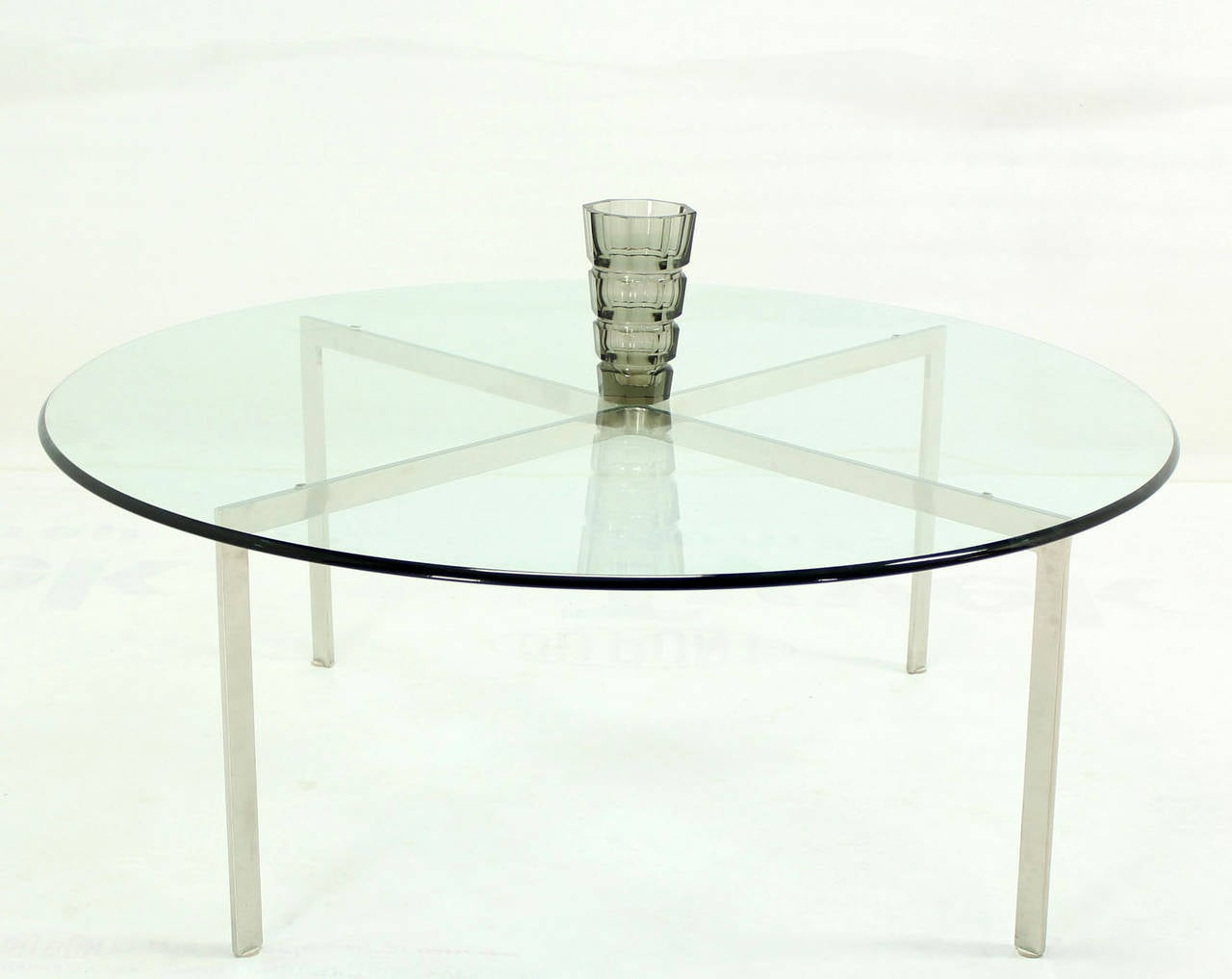 Stainless Steel Mid Century Modern Chrome X Base Thick Round Glass Top Coffee Table For Sale