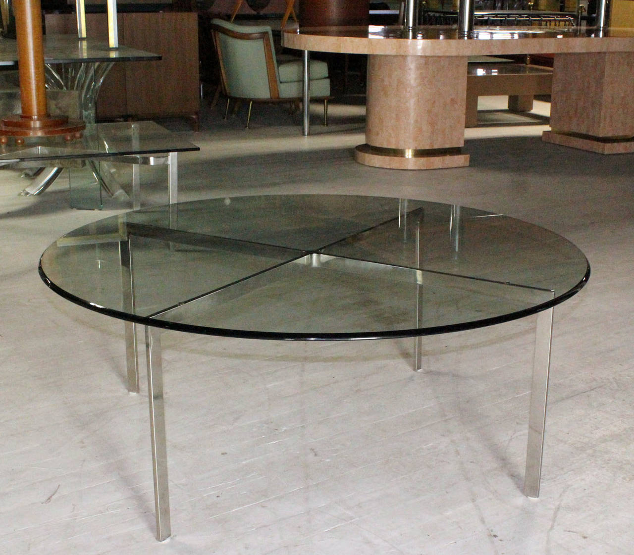 20th Century Mid Century Modern Chrome X Base Thick Round Glass Top Coffee Table For Sale