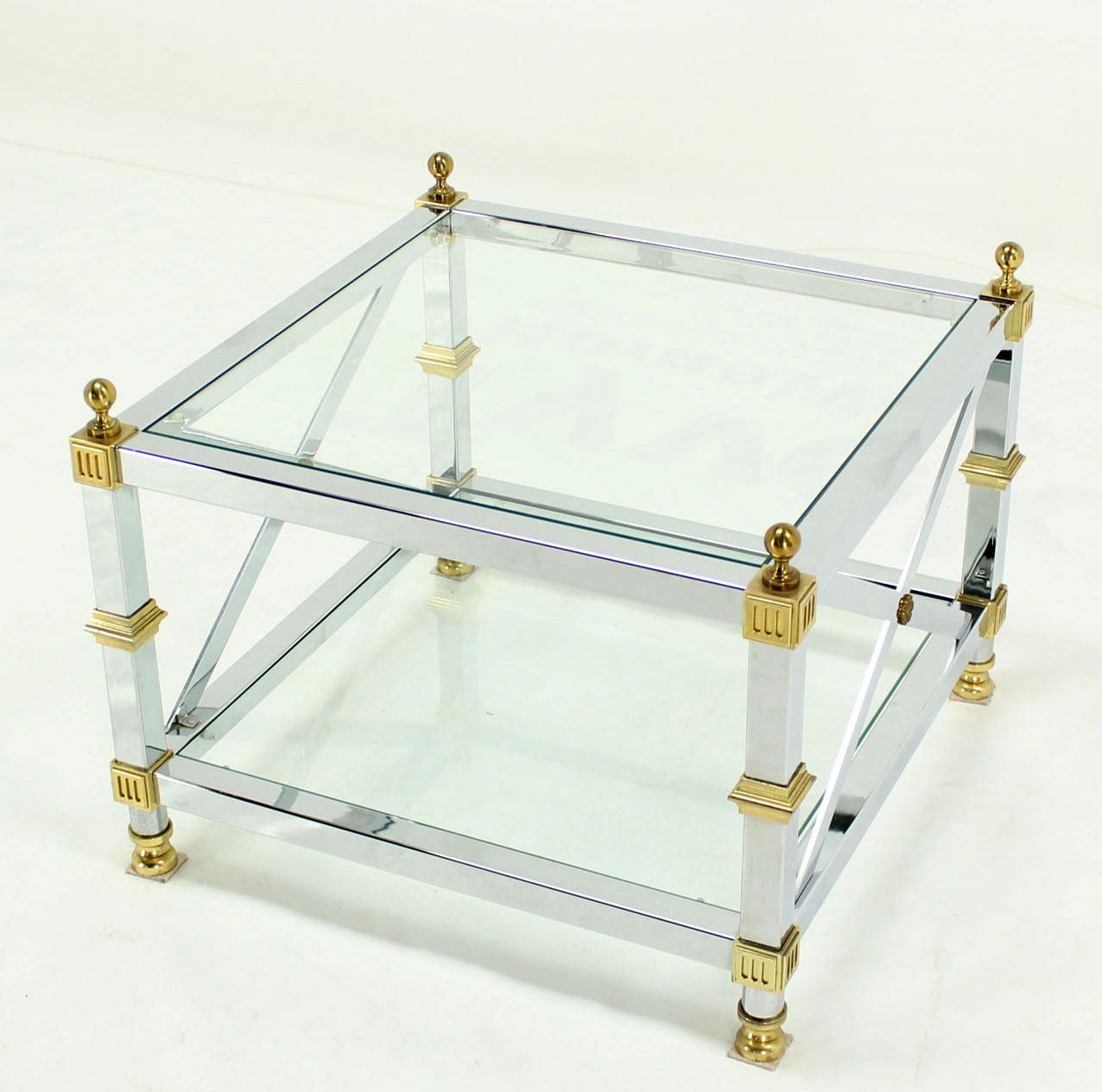 tow tier glass top chrome brass x base square side or end table