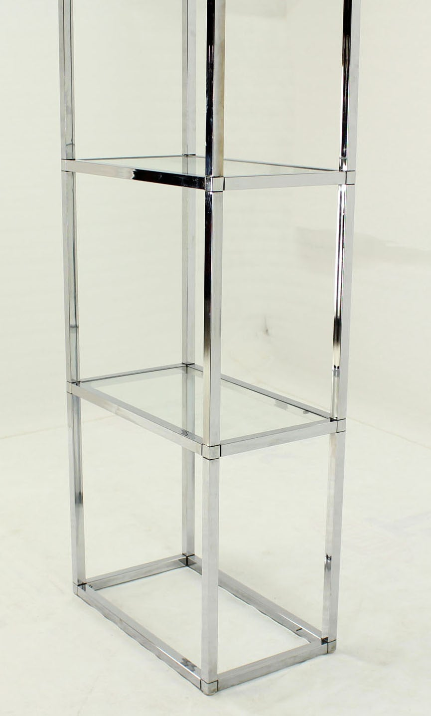 Narrow And Tall Mid Century Modern Chrome And Glass