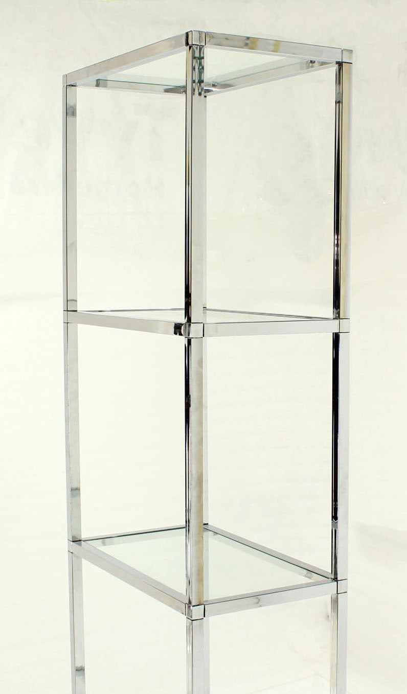 narrow and tall mid century modern chrome and glass etagere shelf for sale at 1stdibs. Black Bedroom Furniture Sets. Home Design Ideas