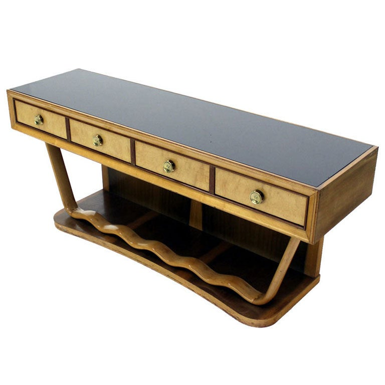 Mid Century Italian Modern Console Table Petit Credenza Attributed to Borsani