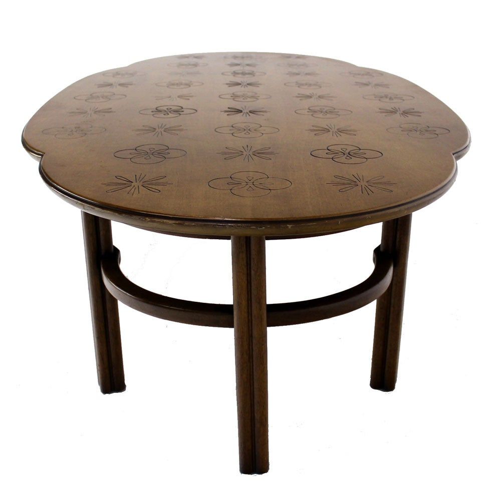 Mid Century Modern Walnut Decorative Oval Coffee Table At 1stdibs
