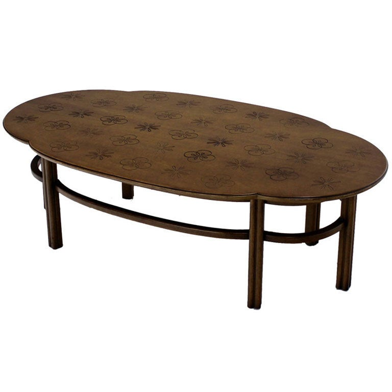 Mid century modern walnut decorative oval coffee table at for Mid century modern coffee table