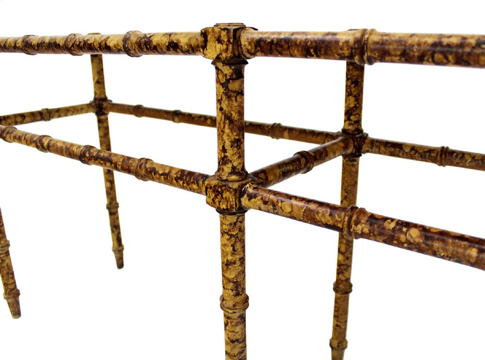 Very nice faux bamboo tortoise finish console table.