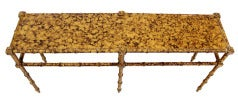 Faux Bamboo Tortoise Shell Finish Console Hall Table image 3