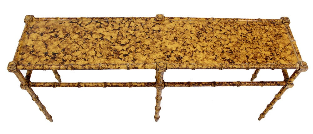 American Faux Bamboo Tortoise Shell Finish Console Hall Table For Sale