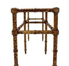 Faux Bamboo Tortoise Shell Finish Console Hall Table image 4