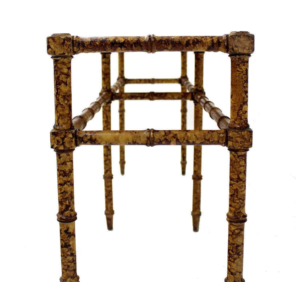 Faux Bamboo Tortoise Shell Finish Console Hall Table 4