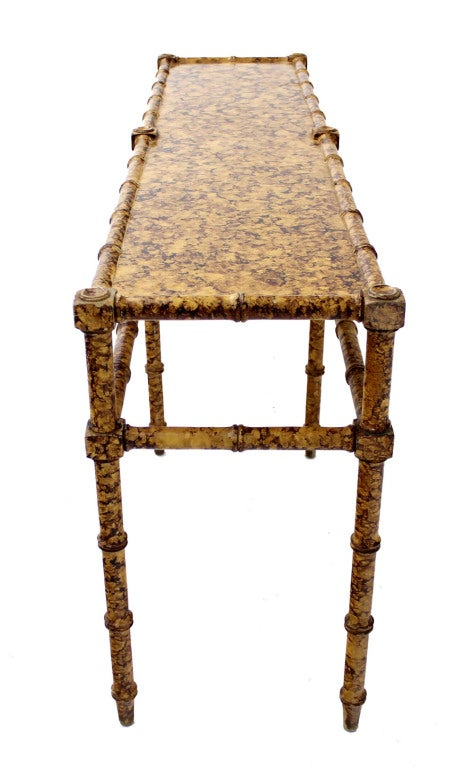 Faux Bamboo Tortoise Shell Finish Console Hall Table 5