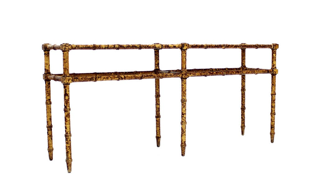 Faux Bamboo Tortoise Shell Finish Console Hall Table 7