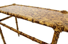 Faux Bamboo Tortoise Shell Finish Console Hall Table image 8