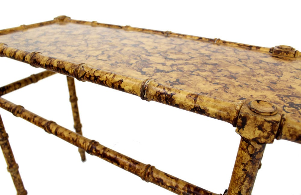 Faux Bamboo Tortoise Shell Finish Console Hall Table For Sale 3
