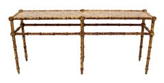 Faux Bamboo Tortoise Shell Finish Console Hall Table image 9