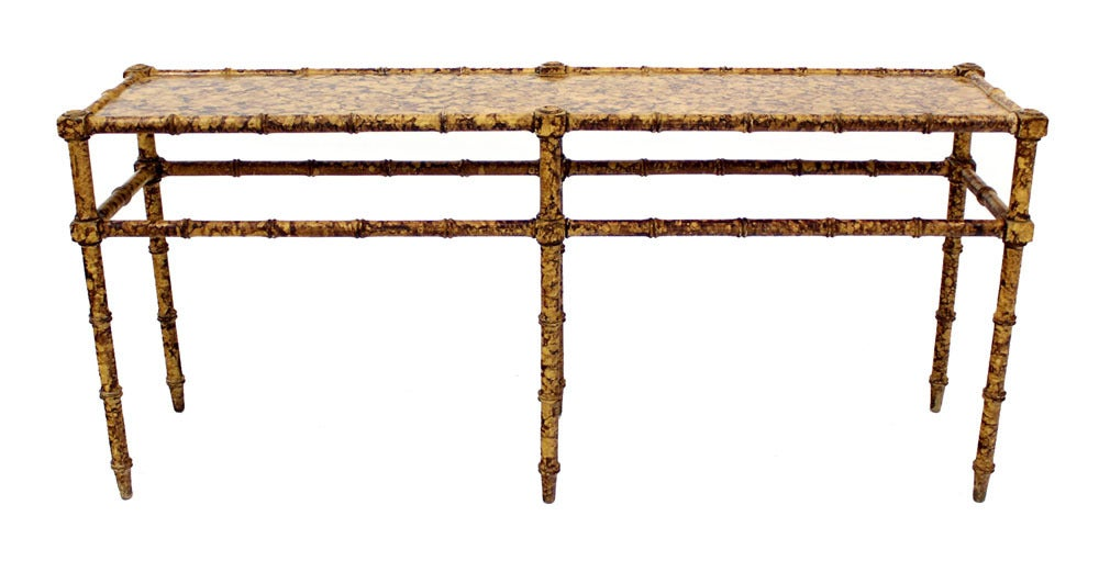 Faux Bamboo Tortoise Shell Finish Console Hall Table For Sale 4