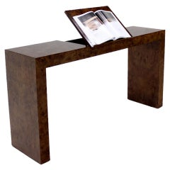 Midcentury Burl Wood Walnut Lift-Top Console Table