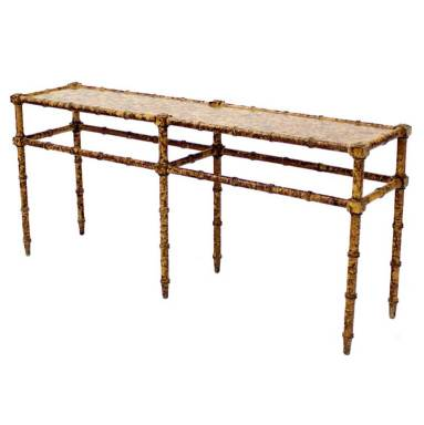 Faux Bamboo Tortoise Shell Finish Console Hall Table