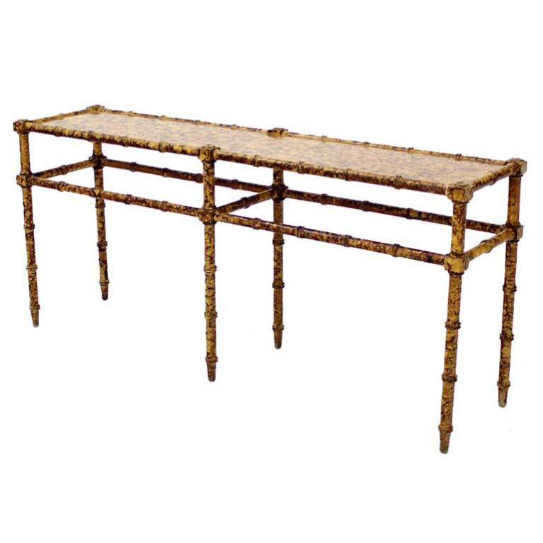 Faux Bamboo Tortoise Shell Finish Console Hall Table For Sale