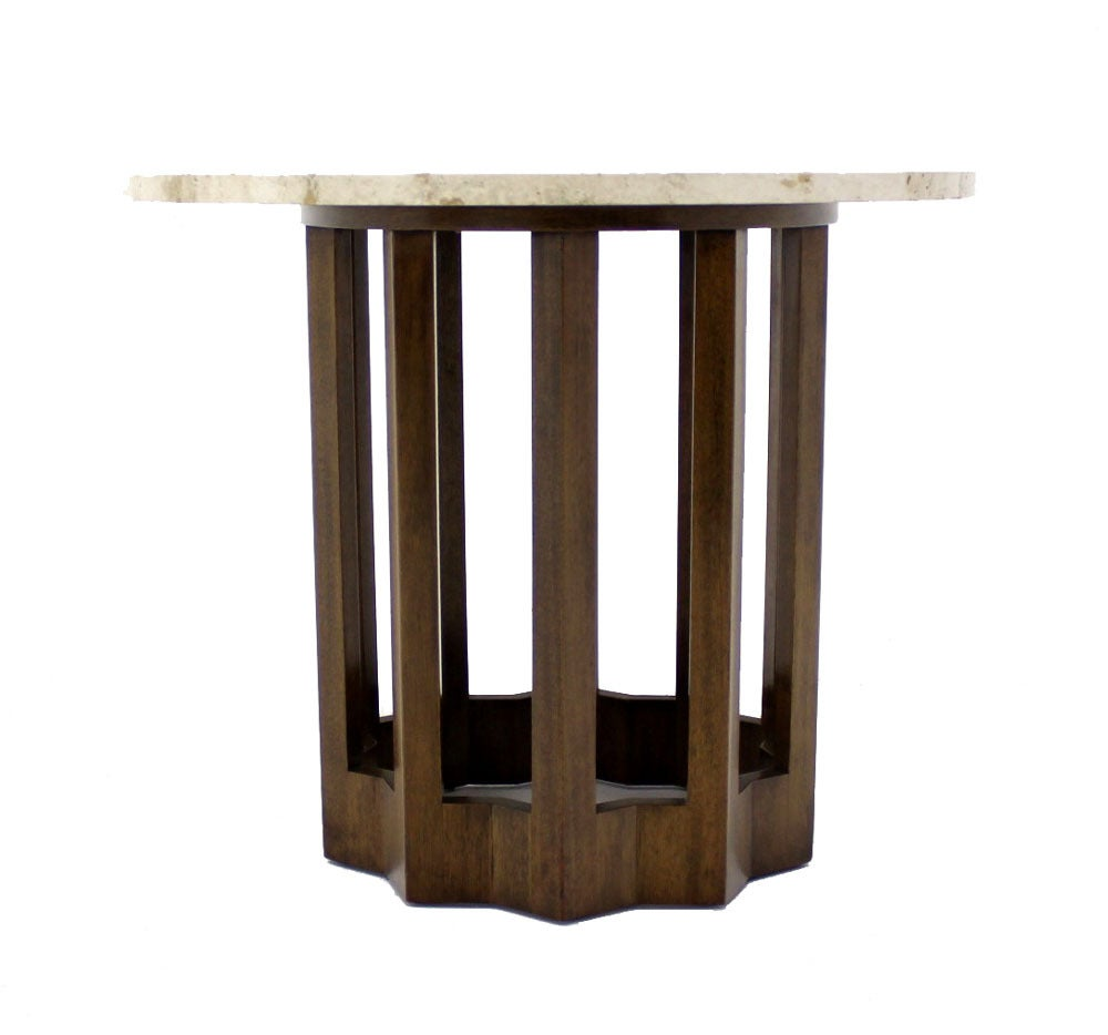 Travertine top occasional mid century modern side table at for Designer occasional tables