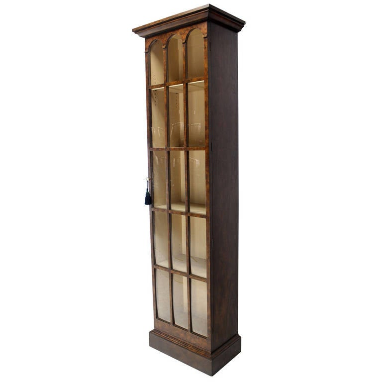 Tall Narrow Crown Gl Bookcase Cabinet High Quality For
