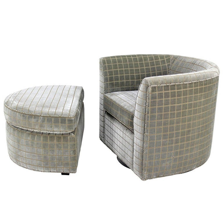 Barrel Back Swivel Mid Century Modern Lounge Chair and Ottoman at 1stdibs